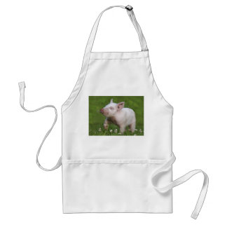 White Piglet Smelling Flowers Adult Apron