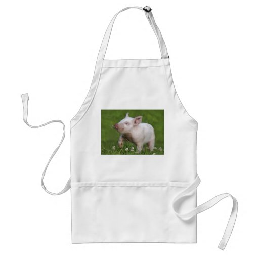 White Piglet Smelling Flowers Aprons