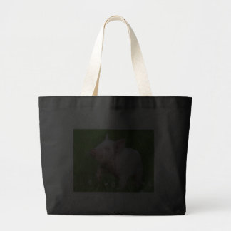 White Piglet Smells a Flower Canvas Bags