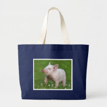 White Piglet Smells a Flower Large Tote Bag