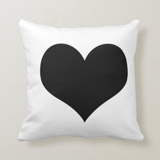 White Pillow Black Heart Zazzle Com