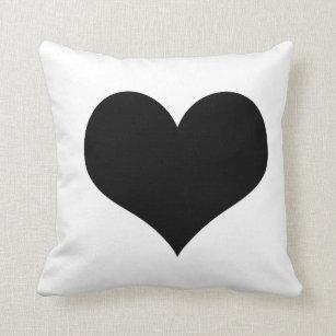 White Pillow  black heart