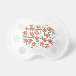 White Pillow with Red Flowers Pacifier