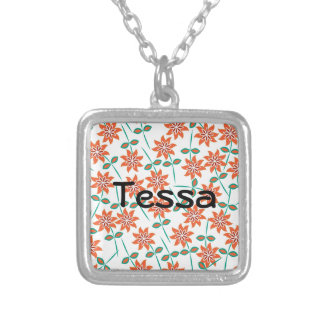 White Pillow with Red Flowers Silver Plated Necklace