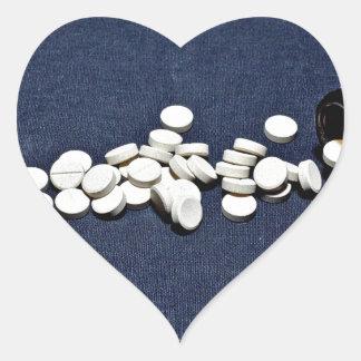 White pills glass bottle heart sticker