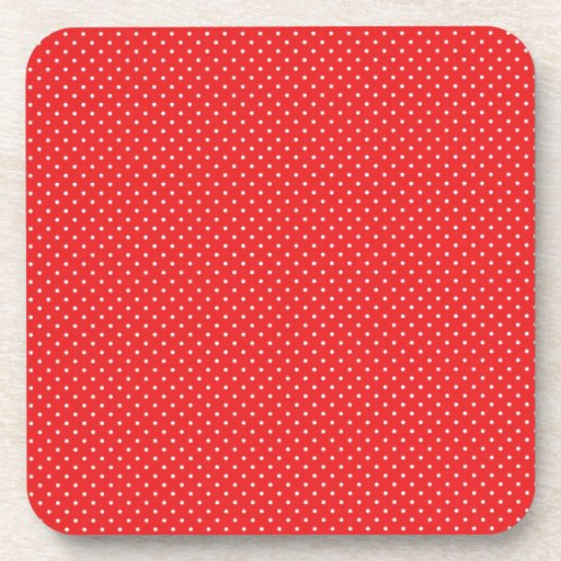 White Pin Dots on Red Coaster