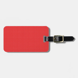 White Pin Dots on Red Luggage Tag
