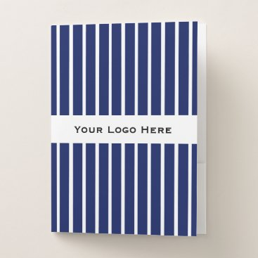 Professional Business White Pin Strips w/ Your Logo Here/Message Folder