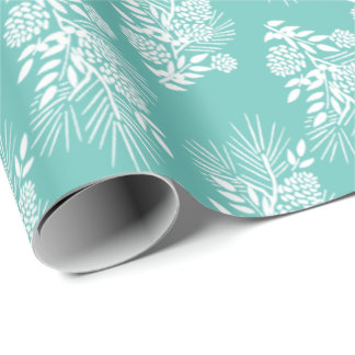 White Pine Boughs Cones and Berries Your Color Wrapping Paper
