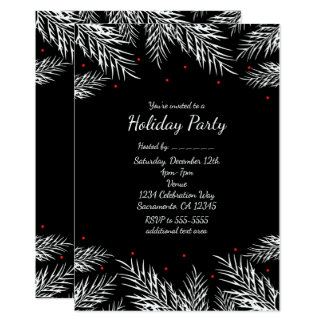 White Pine & Red Berries Black Holiday Invitations