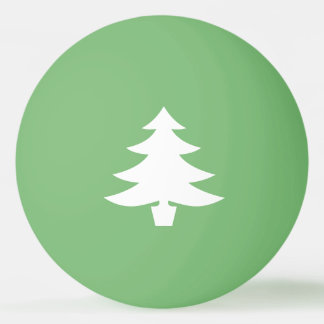 White Pine Tree Shape on Green Ping-Pong Ball
