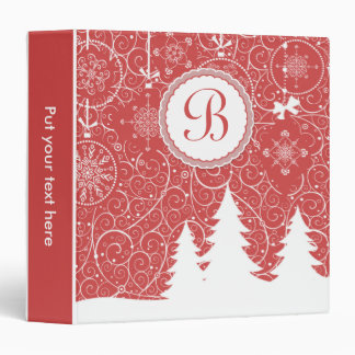 White pine trees and snowflakes on red Christmas Binder
