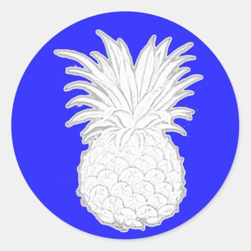 white pineapple round sticker