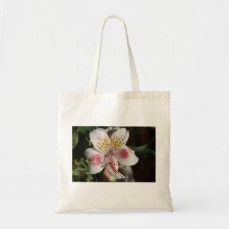 White/Pink Alstroemeria Flower Tote Bag