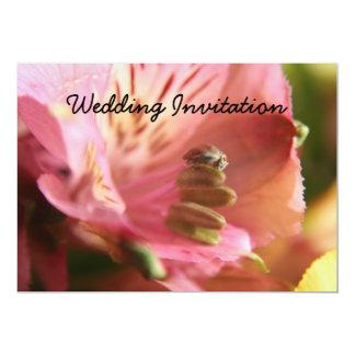White/Pink Alstroemeria Flower  Wedding Invitation 13 Cm X 18 Cm Invitation Card