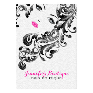 White Pink And Black Beauty Face Monogram 3 Business Card Templates