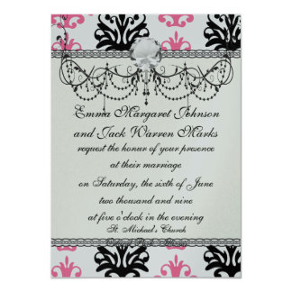 white pink and black chic damask card