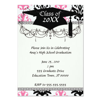 white pink and black chic damask graduation card