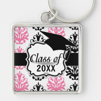 white pink and black chic damask graduation Silver-Colored square keychain