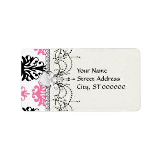 white pink and black chic damask label