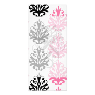 white pink and black chic damask rack card template