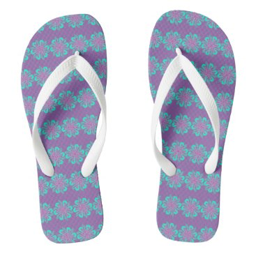 Beach Themed White, Pink And Blue Floral Graphic Flip Flops