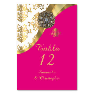 White, pink and gold vintage damask wedding card
