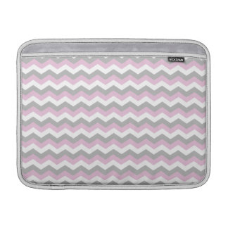 White, Pink and Gray Chevron Zigzag MacBook Sleeve