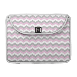 White, Pink and Gray Chevron Zigzag Sleeve For MacBook Pro