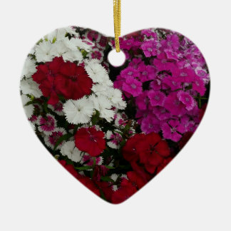 White, Pink and Red Dianthus Floral Photography Ceramic Ornament
