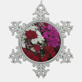 White, Pink and Red Dianthus Floral Photography Snowflake Pewter Christmas Ornament