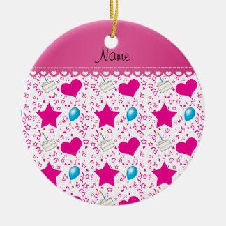 White pink birthday cake balloons hearts stars ceramic ornament