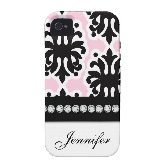White Pink Black Damask Pattern iPhone 4 Case