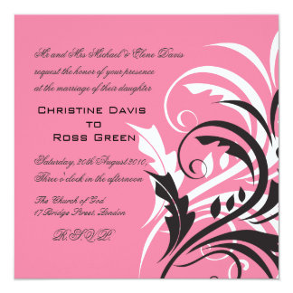 White, pink, black, wedding invitation