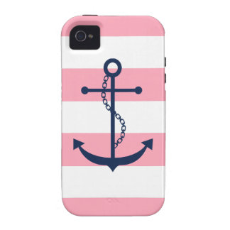 White Pink Blue Stripes Pattern Anchor Case-Mate iPhone 4 Cover