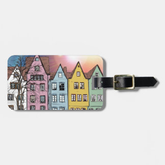 White, Pink, Blue, Yellow Houses Luggage Tag