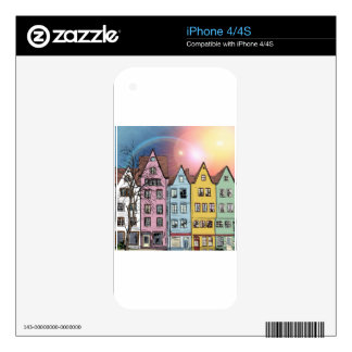 White, Pink, Blue, Yellow Houses Skins For The iPhone 4