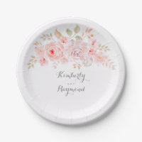 White Pink Blush Floral Paper Plate