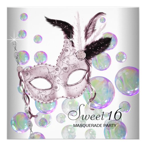 White Pink Bubbles Sweet Sixteen Masquerade Party Invites