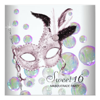 """White Pink Bubbles Sweet Sixteen Masquerade Party 5.25"""" Square Invitation Card"""