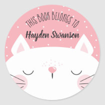 White & Pink Cat | This Book Belongs To Classic Round Sticker