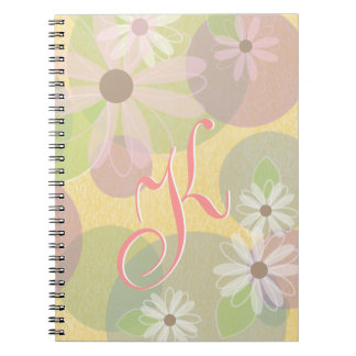 White & Pink Daisies & Colored Circles Monogram Spiral Notebook