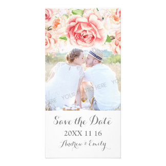 White Pink Floral Save the Date Wedding Photo Card