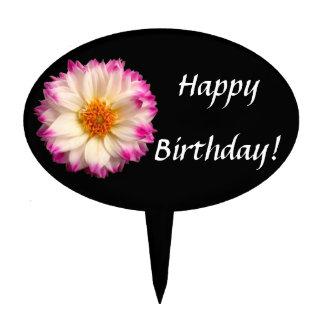 White Pink Flower Black Birthday Cake Topper Pick