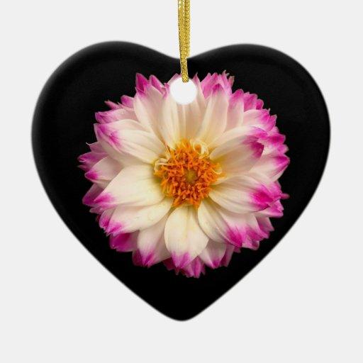 White Pink Flower Black Heart Ornament