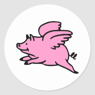 White Pink Flying Pig Classic Round Sticker