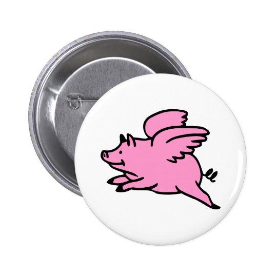 White Pink Flying Pig Pinback Button