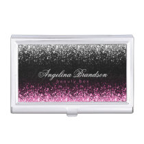 White & Pink Glitter Damask Beauty Expert Holder