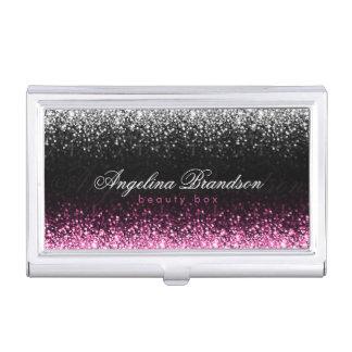 White & Pink Glitter Damask Beauty Expert Holder Case For Business Cards
