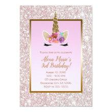 White Pink Glitter Gold Unicorn Birthday Party Invitation